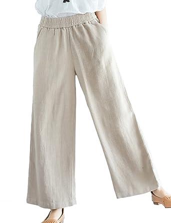 8ec56193d40 Lentta Women s Casual Relax Elastic Waist Linen Wide Leg Ankle Length Long  Pants (X-
