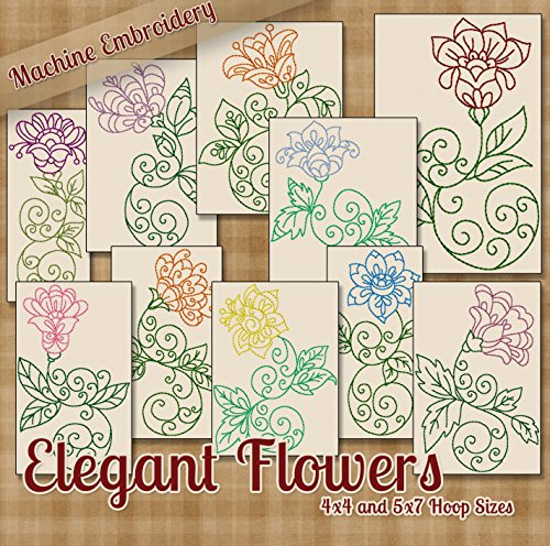 Elegant Flowers Embroidery Machine Designs on CD - 10 Beautiful Patterns - 2 Sizes Each - PES JEF EXP XXX VIP HUS DST (Flowers Machine Embroidery Designs)