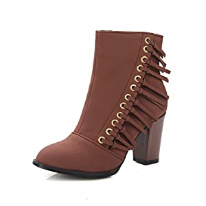 Closed-Toe Womens Tassels Chunky Heels Wheeled Heel Shoes Brown Imitated Suede Boots 4.5 B(M) US