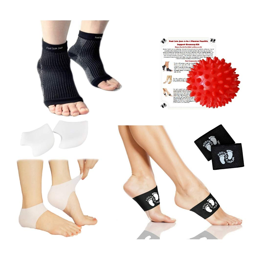 4bd5b0243e FOOT SOLE JOUR NEW Plantar Fasciitis 4-in-1 Pain Relief & Recovery Kit -  Foot Compression Sleeve, Copper Arch Compression Brace, Heel Protectors,  Foot ...