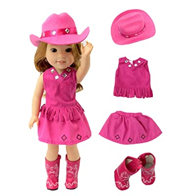 American Fashion World Hot Pink Little Cowgirl Hat Boots-Fits 14 Inch Wellie Wisher Dolls | 14 Inch Doll Clothing: Toys & Games