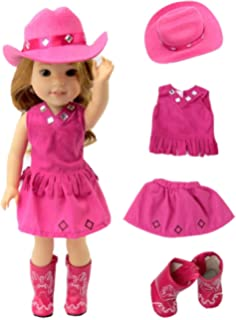 5c51cc71005 American Fashion World Hot Pink Little Cowgirl Hat Boots-Fits 14 Inch  Wellie Wisher Dolls