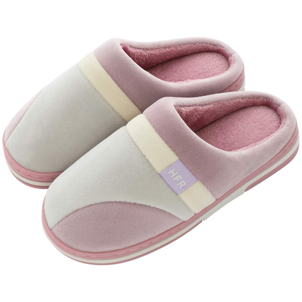 Wadonerful Women Mens Plush Slippers Winter Warm Home Cotton Slippers Non-Slip Memory Foam Indoors Bedroom Floor Shoes