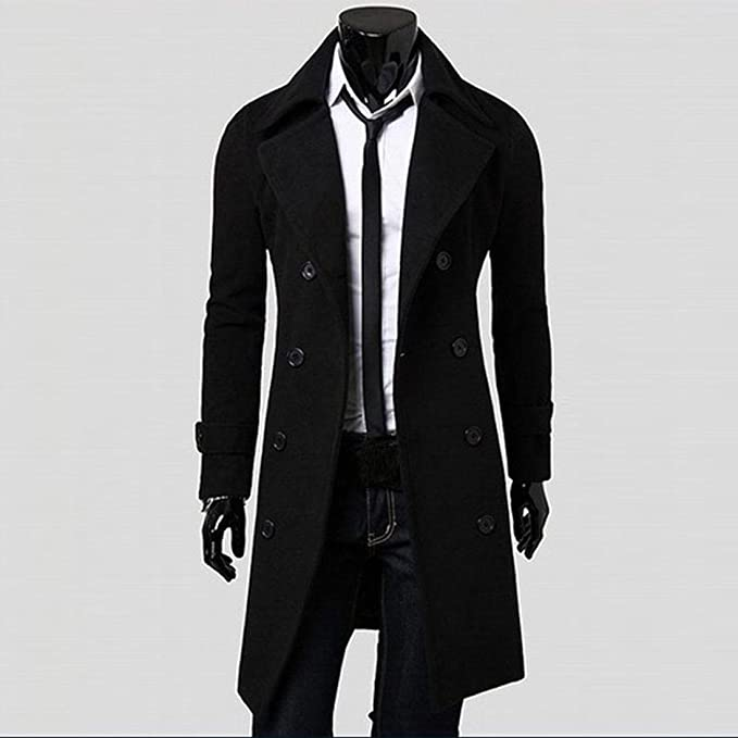 OverDose Hombres de invierno Slim elegante Trench Coat Double Breasted Chaqueta larga Parka (S, Negro)