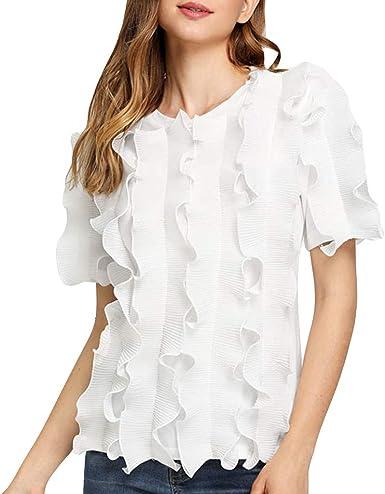 Sulifor Camisa Sexy de Manga Corta con Volantes, Camiseta de Color Puro, Camisa con Cuello en O para Mujer, Blusa Diaria de Verano: Amazon.es: Ropa y accesorios