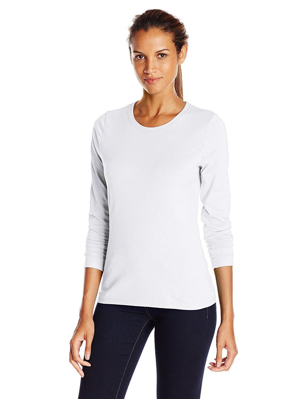 Hanes Women's Long-Sleeve Crewneck T-Shirt_White_Large_White_Large