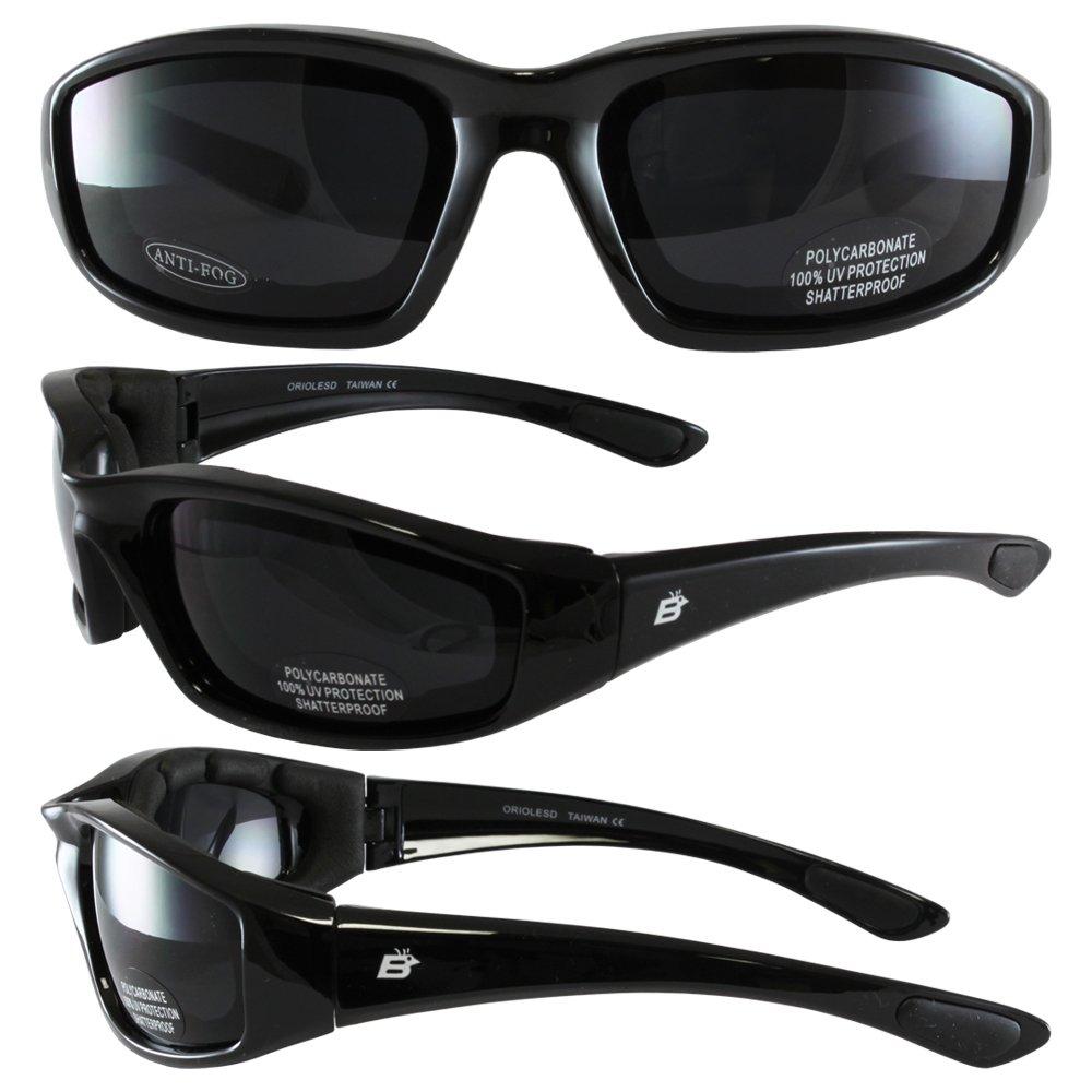 Birdz Eyewear Oriole Padded Motorcycle Glasses Black Frame//Dark Smoke Lens