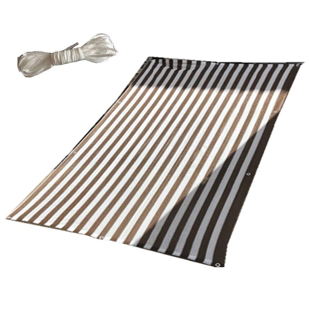FEIFEI 80%の陰の網、自由なロープが付いている庭の花植物のための日曜日の網の陰の日焼け止めの陰の布 (色 : Brown+white stripes, サイズ さいず : 5×5m) 5×5m Brown+white stripes B07PXDQSR6