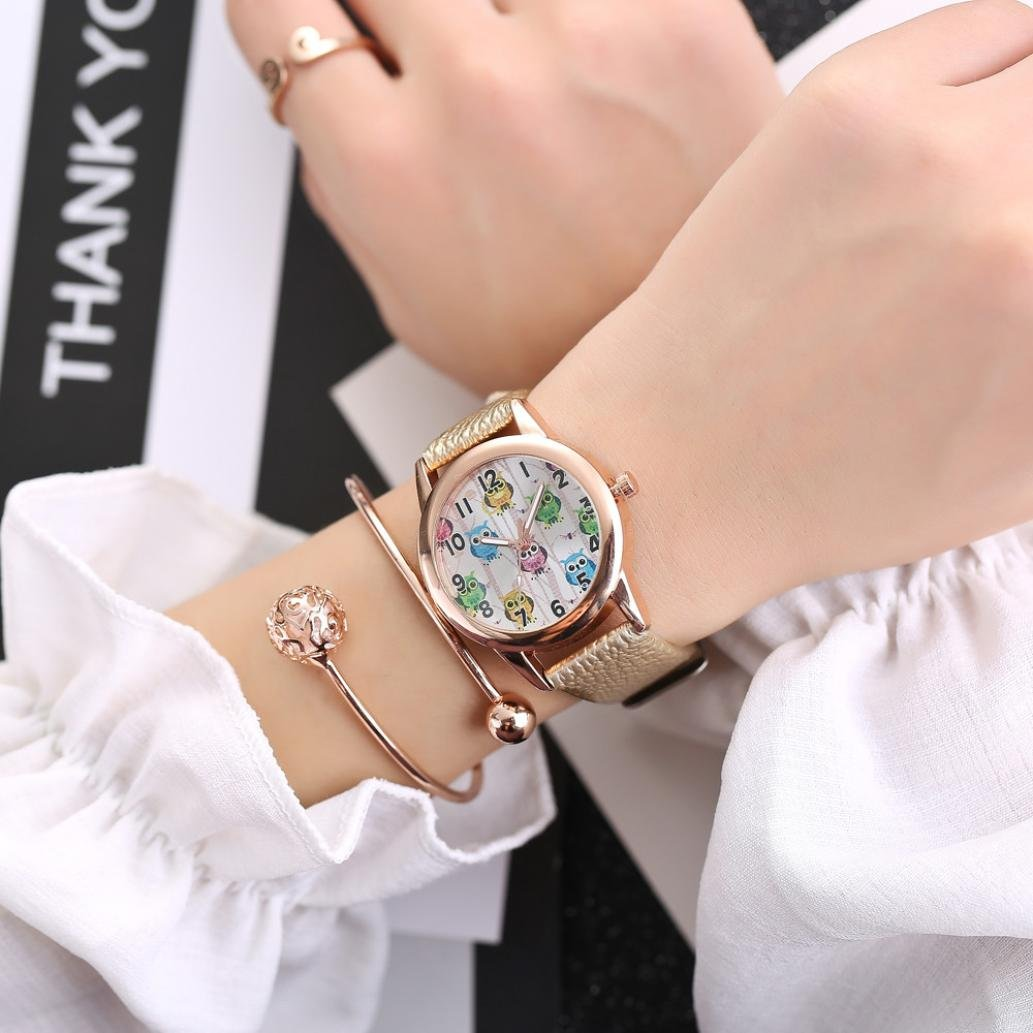 LtrottedJ Cute Owl Women Fashion Leather Band Analog Quartz Round Wrist,Watch Watches (Gold)