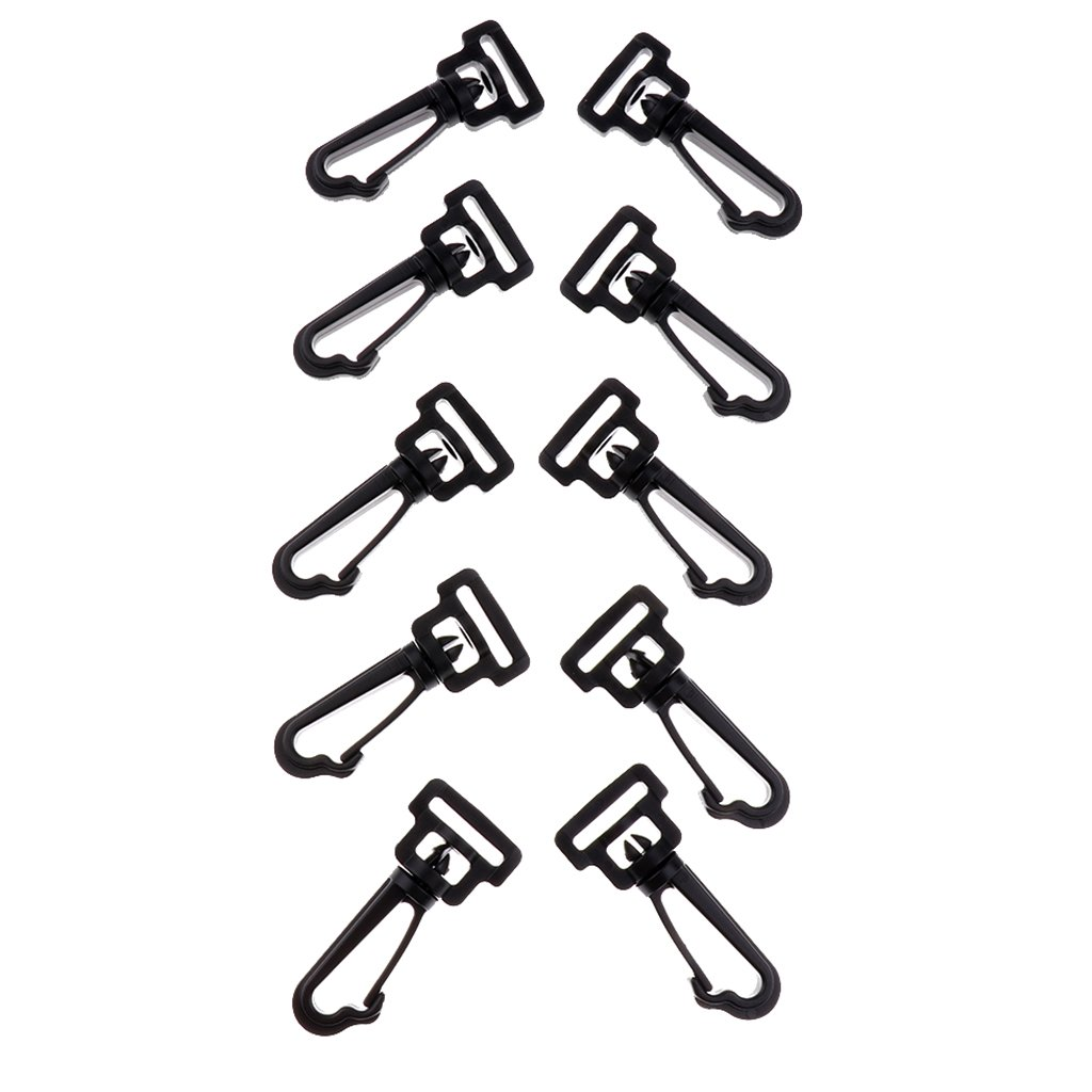 MagiDeal 10 Pezzi 2 / 2.5 / 3 / 3.8mm Plastica Girevole Ganci A Scatto Fibbia Hardware Paracord Zaino Esterno Cinghie Sacchetto Di Tessitura Parti Accessori - Nero, 1,3 millimetri