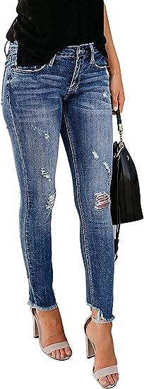 HX fashion ジーンズレディースジーンズパンツスキニースリムフィットストレッチボーイフレンド破れた破壊ストレートデニムパンツ穴付き