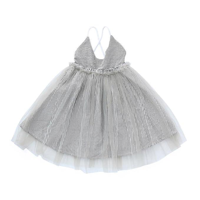 Trada Kinderkleidung, Kleinkind Baby Mädchen Gestreiftes Netz ...
