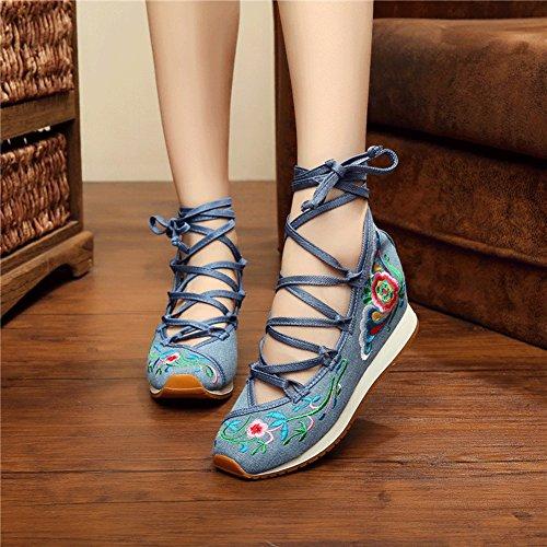 Avacostume Donna Vecchio Pechino Ricamo Floreale Sandali Con Cinturino Altezza Cunei Crescente Blu