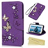 Mavis's Diary Galaxy S5 Case ,Samsung Galaxy S5 Bling Flip Case - Glitter Gems Diamonds Crystal Butterfly Wallet PU Leather Flip Cover [Retro Flower Butterfly] Silicone Back Holder Case Magnetic Closure Card Slots & Stand & Wrist Strap - Light Purpl