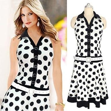 8cef620425 Fashion Women Vintage Dot Joint Lapel Sleeveless Skater Dress Party Skirt  (S,White): Amazon.co.uk: Clothing