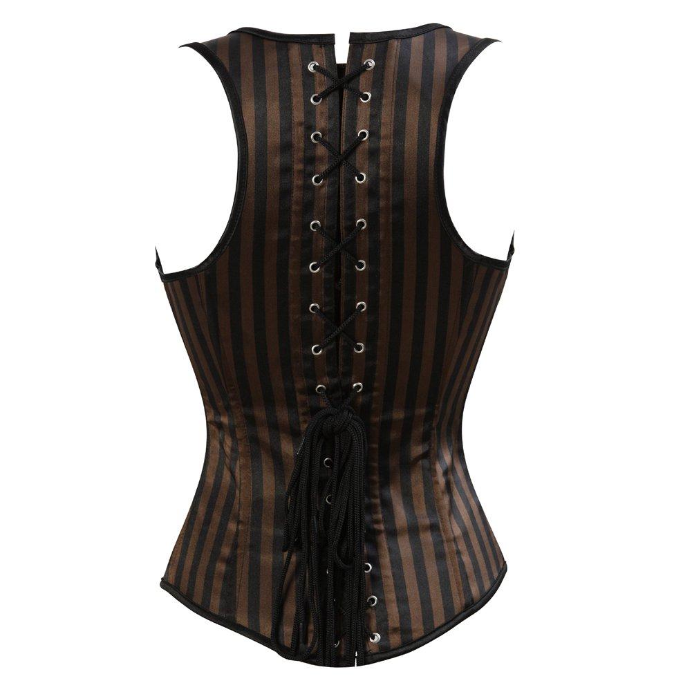 09fcc01521 Grebrafan Striped Lace Corset Steampunk Underbust Waist Training Top   Amazon.co.uk  Clothing
