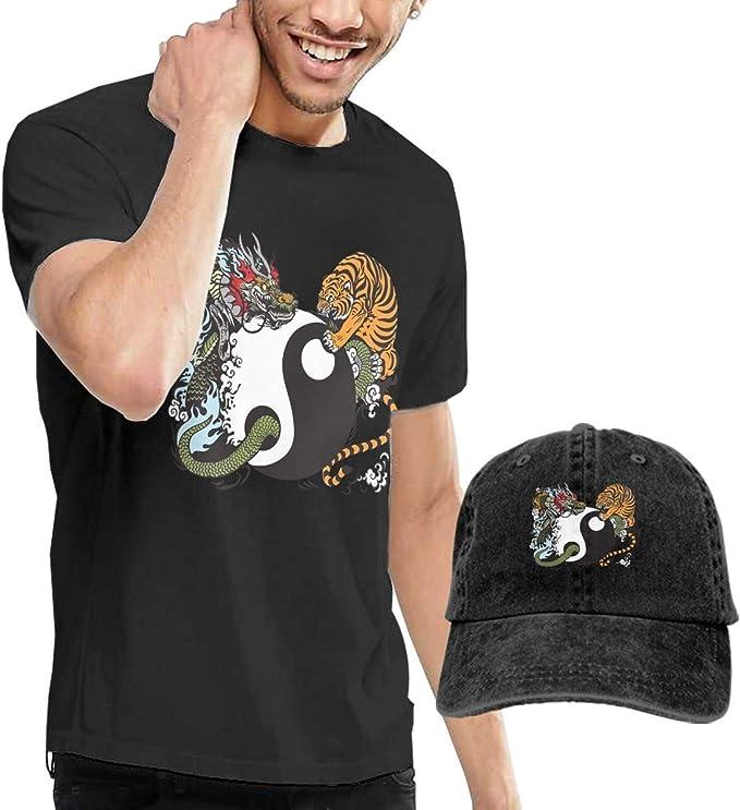 SOTTK Camisetas y Tops Hombre Polos y Camisas, Dragon Tiger Tai Chi Mens Short Sleeve T Shirt & Washed Adjustable Baseball Cap Hat: Amazon.es: Ropa y accesorios
