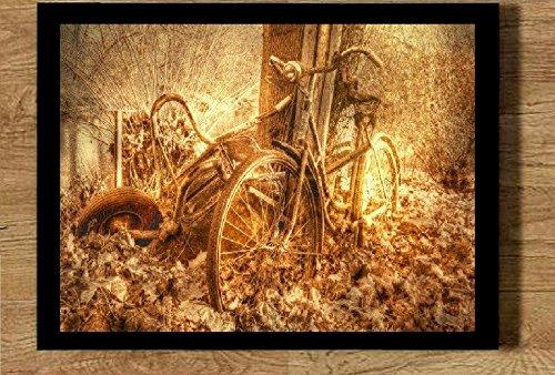 Quadro em sépia bicicleta antiguidade 21x30 com moldura