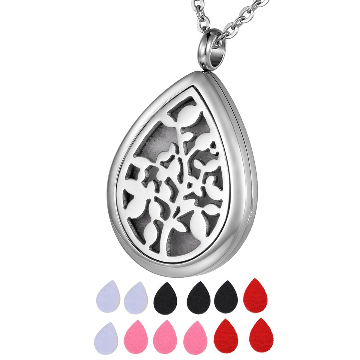 HOUSWEETY Aromatherapy Essential Oil Diffuser Necklace Hypo-Allergenic Stainless Steel Locket Teardrop Pendant Necklace HOUSWEETYB104686