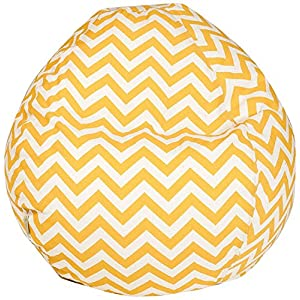 Majestic Home Goods Classic Bean Bag Chair - Chevron Giant Classic Bean Bags for Small Adults and Kids (28 x 28 x 22 Inches) (Yellow)