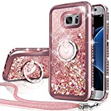 Silverback Phone case Compatible with Samsung Galaxy S7, Girls Women Moving Liquid Holographic Sparkle Glitter Case with Kickstand, Bling Bumper W/Ring Stand Slim for Samsung Galaxy S7 -RD