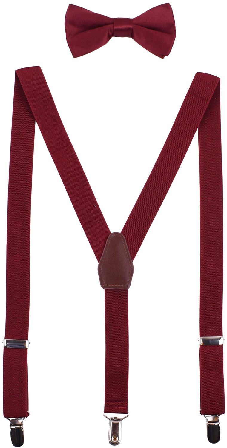 WDSKY Baby Boys' Bow Tie and Suspenders Set Y Back Adjustable Wine