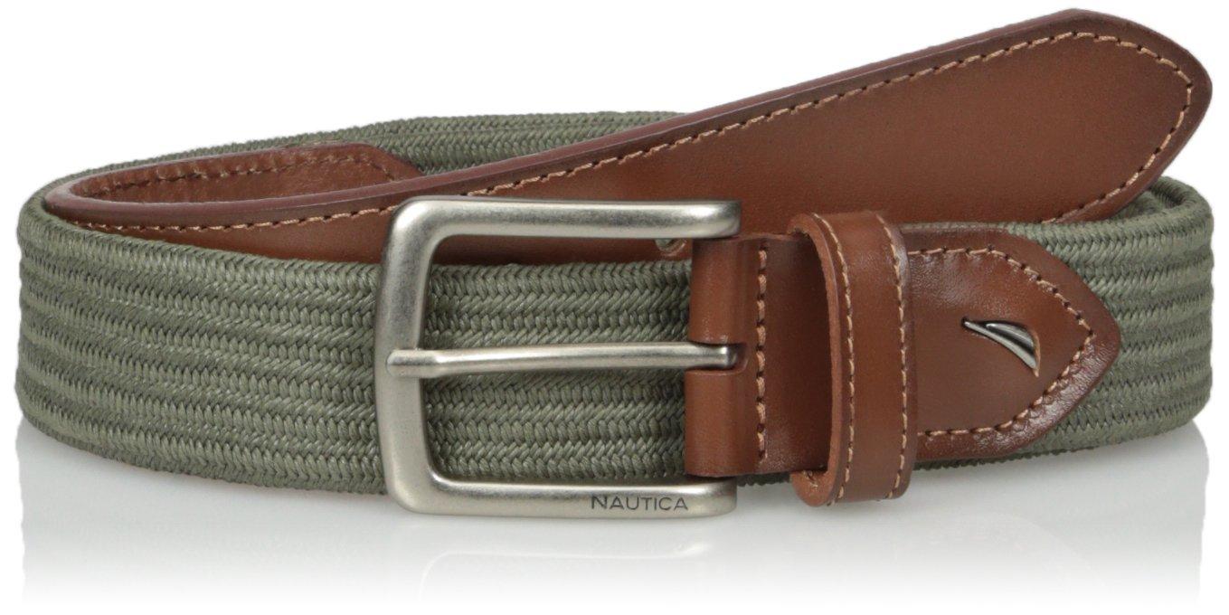 Nautica Men's Casual Stretch Belt,Olive,Large