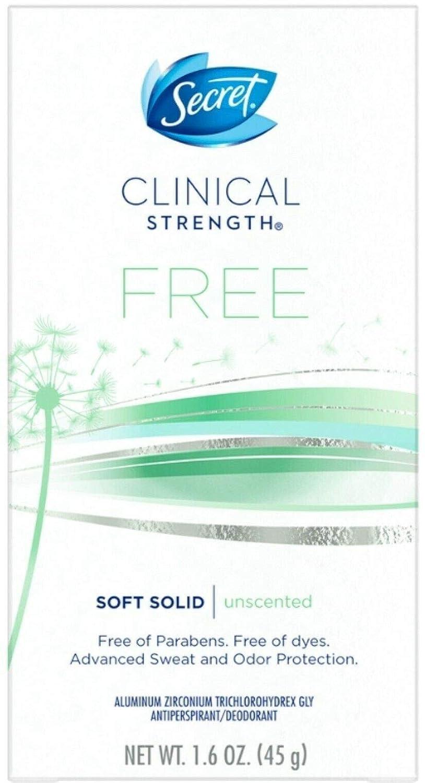 Secret Clinical Strength Soft Solid Sensitive Unscented Deodorant, 1.6 oz (Pack of 3)