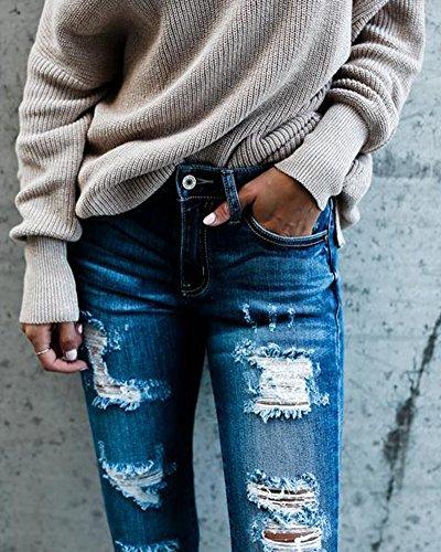 Sottile Strappato Casuale Chiaro Elastici Di Donna Azzurro Lunghi Pantaloni Leggings Jeans gXqO7