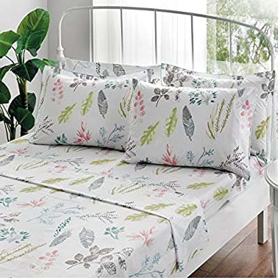 Brielle Gardenia 100% Cotton Printed Sheet Set, Twin / Twin XL, 4 Piece Set - Twin/Twin XL sheet set includes flat sheet, fitted sheet, 1 pillow case and 1 sham 66-By-96 inch flat sheet, 39-by-80 inch fitted sheet, 20-by-30 inch Standard pillow case, 20-by-26 inch Standard Sham Fitted sheet fits up to 16-inch mattresses; 2-inch hem flat sheet and pillowcases; special edging on shams - sheet-sets, bedroom-sheets-comforters, bedroom - 61t4RfsxpAL. SS400  -