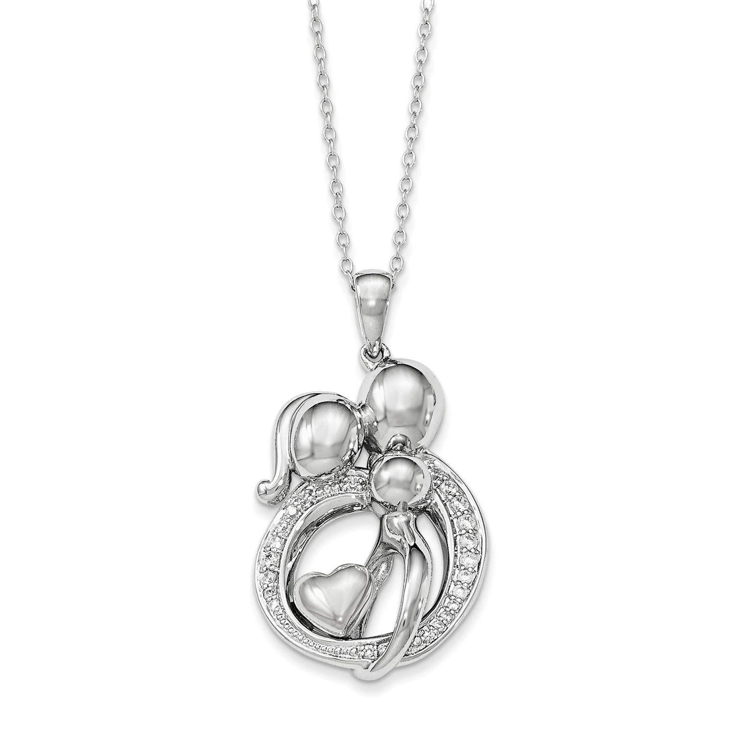 CZ Family of 3 Gathering Pendant Necklace Rhodium-Plated Sterling Silver 29x19MM 18