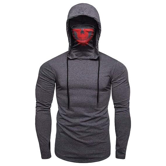 Mens Mask Skull Pullover Sweatshirt Long Sleeve Hoodies ...