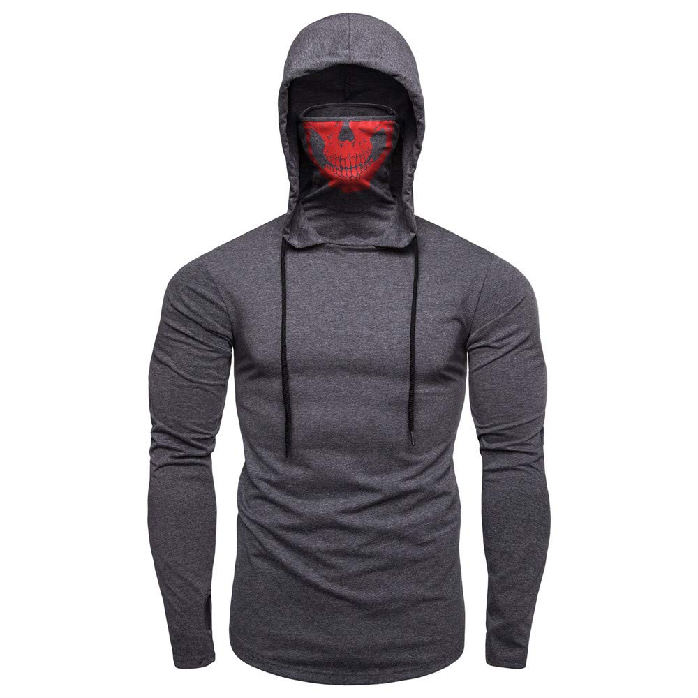 TIMEMEAN Men Autumn New Warm Casual Daily Tops TIMEMEAN Men Mask Skull Pure Color Pullover Long Sleeve Hooded Sweatshirt Hoodies Blouse