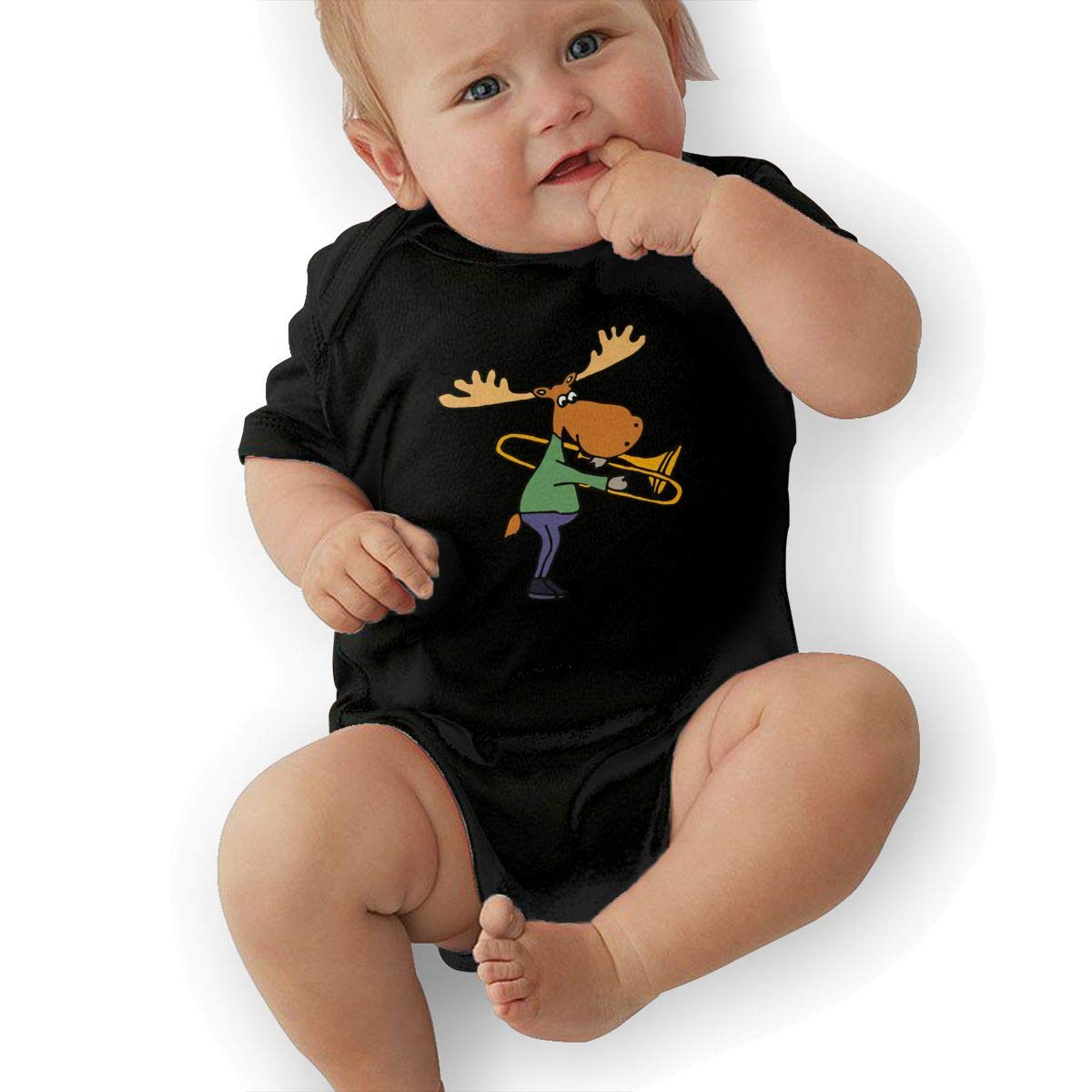 Mri-le2 Toddler Baby Boy Girl Short Sleeve Bodysuit Funny Funky Moose Playing Trombone Toddler Clothes