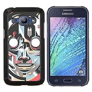 "Be-Star Único Patrón Plástico Duro Fundas Cover Cubre Hard Case Cover Para Samsung Galaxy J1 / J100 ( Robot Art Deco Cara Vintage Retro"" )"