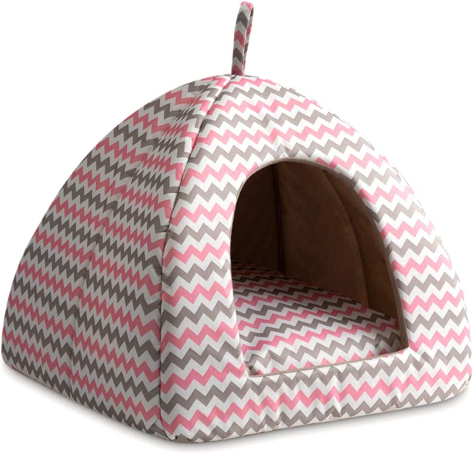 Hollypet Cooling Pet Bed for Cats and Small Dogs 15 x 15 x 15 inches 2 in 1 Foldable Comfortable Triangle Nest Tent House for Summer, Pink