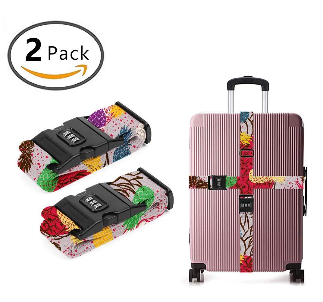 YEAHSPACE Tropical Pineapple(7) Men Women 2 PCS Luggage Packing Belt with TSA Lock, Travelling Bag, Suitcase Belts, Adjustable Luggage Strap Suitcase Belt
