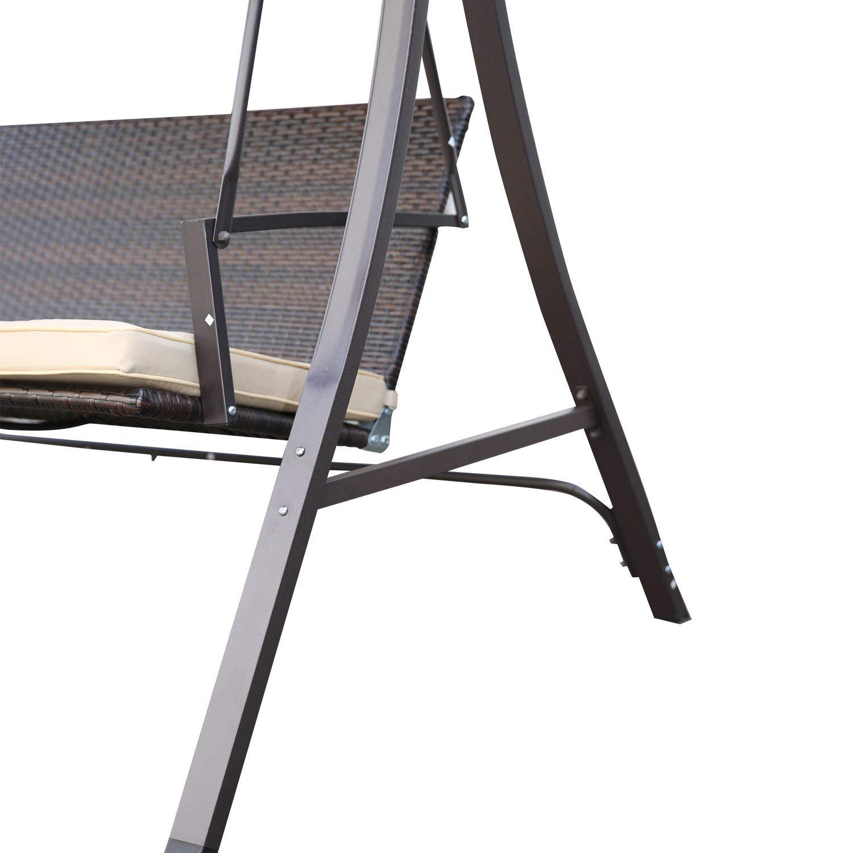Angel Living/® Dondolo da Giardino in Acciaio a 3 Posti con Tettuccio Parasole193x118x175cm Marrone