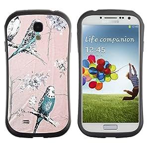 "Hypernova Slim Fit Dual Barniz Protector Caso Case Funda Para SAMSUNG Galaxy S4 IV / i9500 / i9515 / i9505G / SGH-i337 [Loro Árboles rosa del trullo de Spring Branch""]"