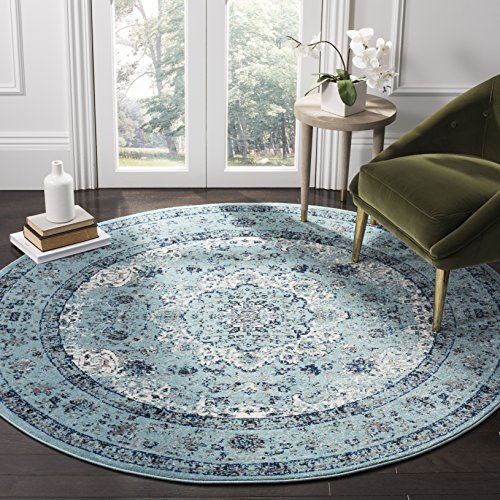 Safavieh Evoke Collection EVK220E Vintage Oriental Light Blue Round Area Rug (3' in Diameter) (Round 3 Ft Rug)