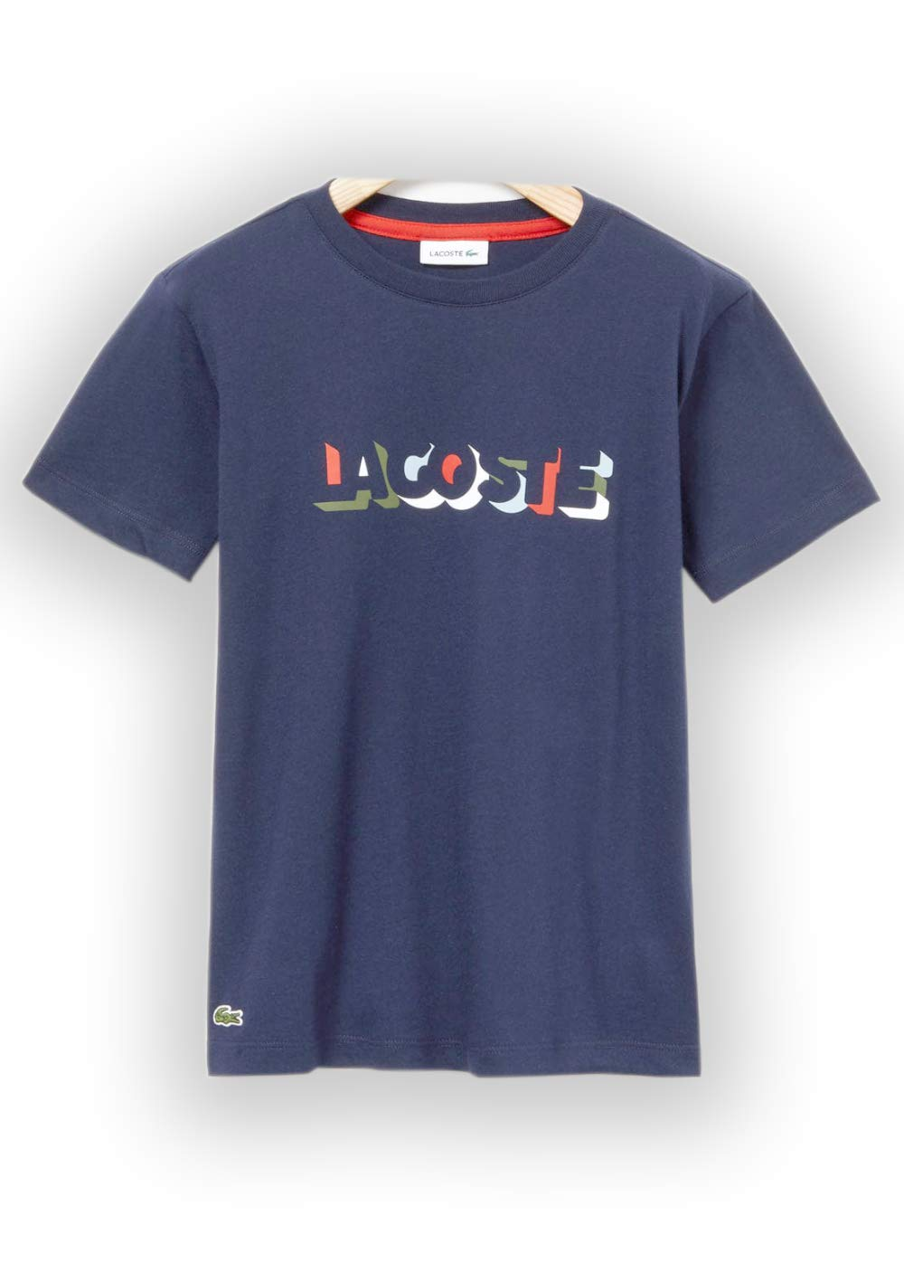 Lacoste Big BOY Multico Print T-Shirt, Navy Blue, 14YR
