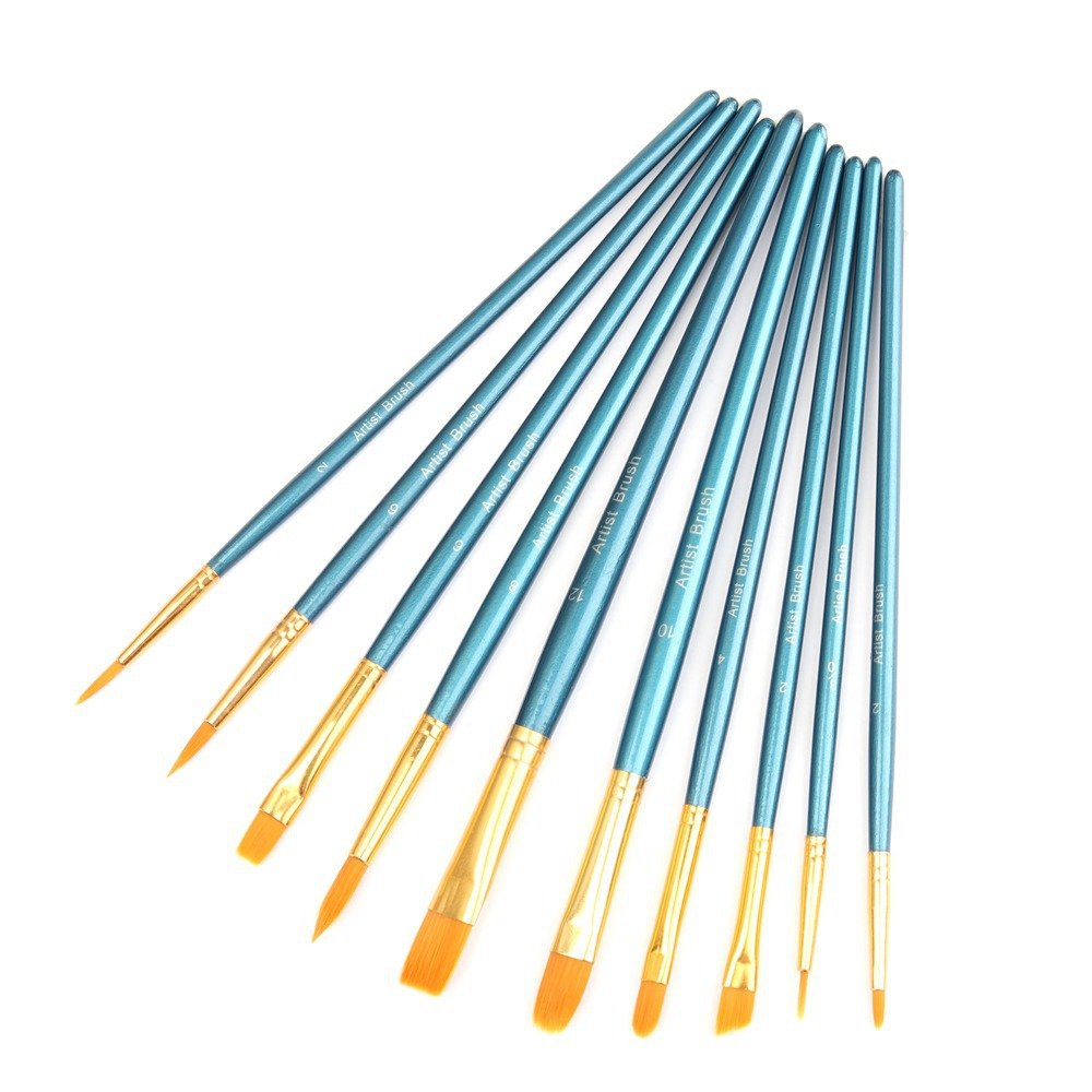 Paint Brush Set, Lelix 10pcs Professional Paint Brushes Artist for Watercolor Oil Acrylic Painting, Blue 4336957916