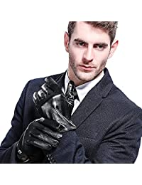 Mens New Black Soft Leather Thermal Lined Driving Gloves