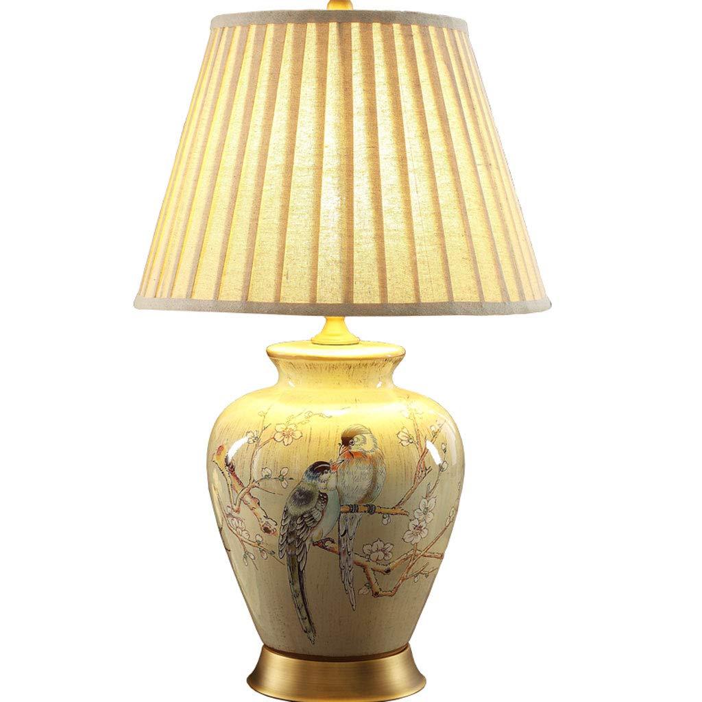 Retro Amerikanischen Keramik Tischlampe Einfache Wohnzimmer Schlafzimmer Antiken Stoff Kupfer Schreibtischlampe Hochzeitsdekoration Geschenk Lampe (Farbe : B)