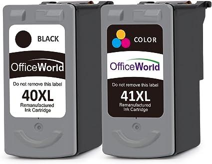 OfficeWorld PG-40XL CL-41XL Remanufacturado Canon PG-40 CL-41 Cartuchos de tinta Compatible con Canon PIXMA iP1200 iP1600 iP2200 MP140 MP150 MP160 MP170 MP180 MP210 MP220 MP450 MP450 MP460 MX300: Amazon.es: Oficina y papelería