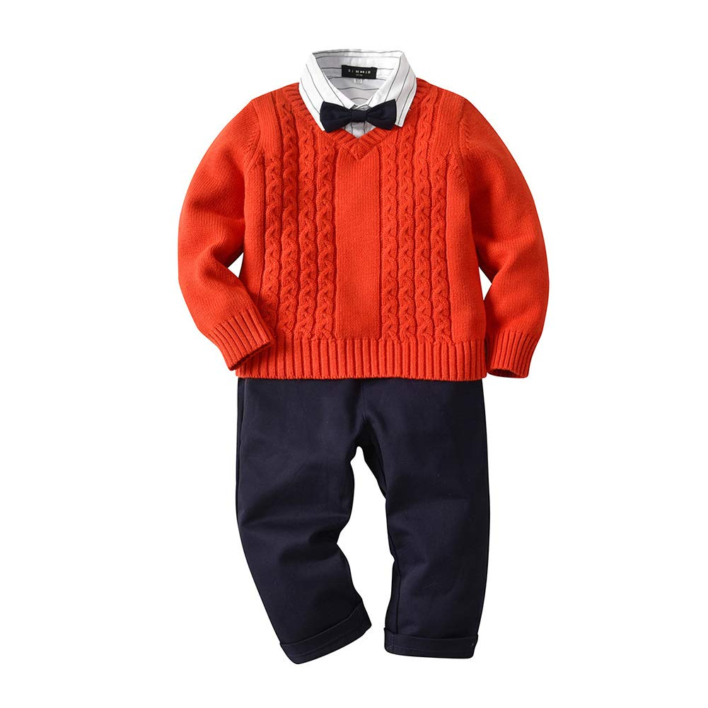 Fairy Baby Toddler Boy 4Pcs Gentleman Outfit Formal Suit Shirt Bowtie Sweater Pants