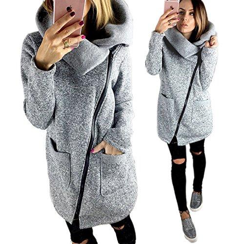 Sudaderas Otoño Chaqueta Oblicua gris Casual Cálido Moda Hoodie Largo Con Invierno Capucha Abrigo Casual Cremallera Mujer APXqRnXW