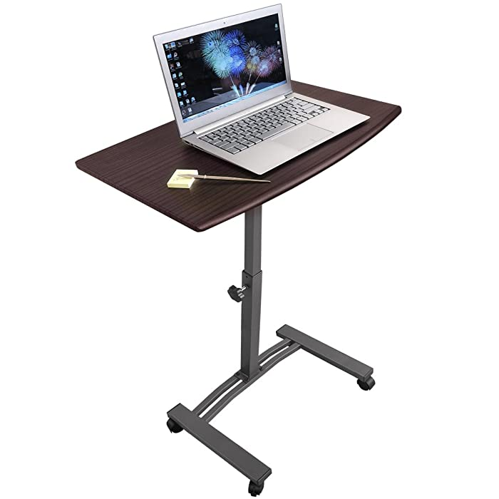 Tatkraft Salute Portable Laptop Desk Cart with Adjustable Top and Casters