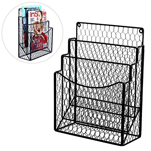 MyGift Black Chicken Wire Magazine Rack, Wall Mount 3 Slot Document Organizer