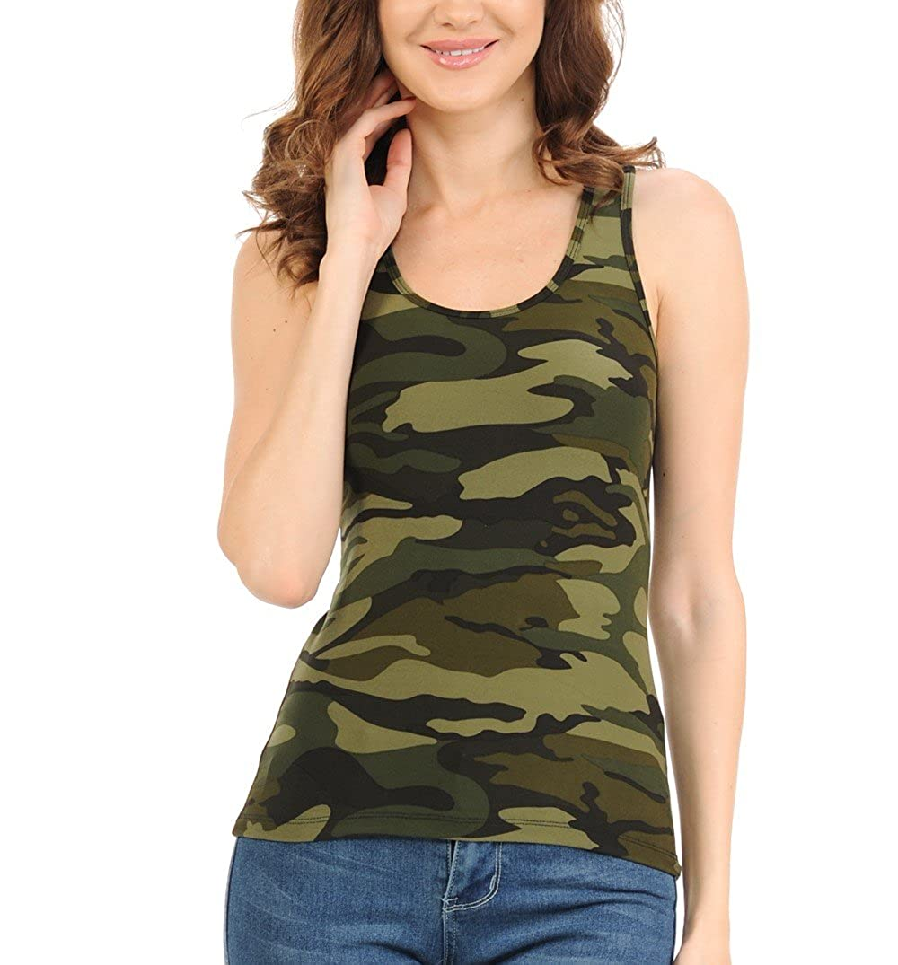 3ab95d8ace539 Bluensquare Racer Back Tank Top for Juniors and Women Camouflage Print  Sweaty Top Brushed Premium Soft Stretched Fabric 85% Polyester 15% Spandex